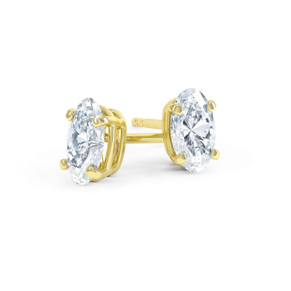 4 Claw Oval Solitaire Diamond Stud Earrings In Yellow Gold