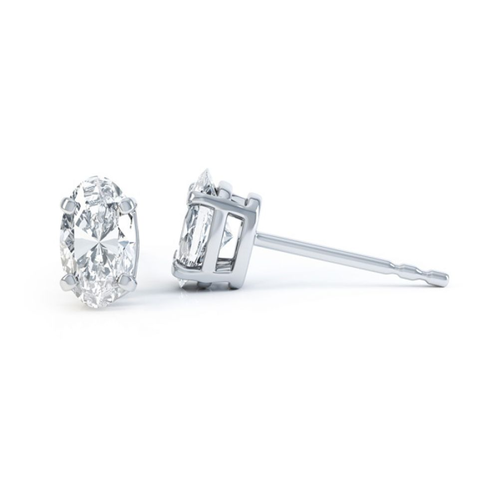 4 Claw Oval Solitaire Diamond Stud Earrings Side View