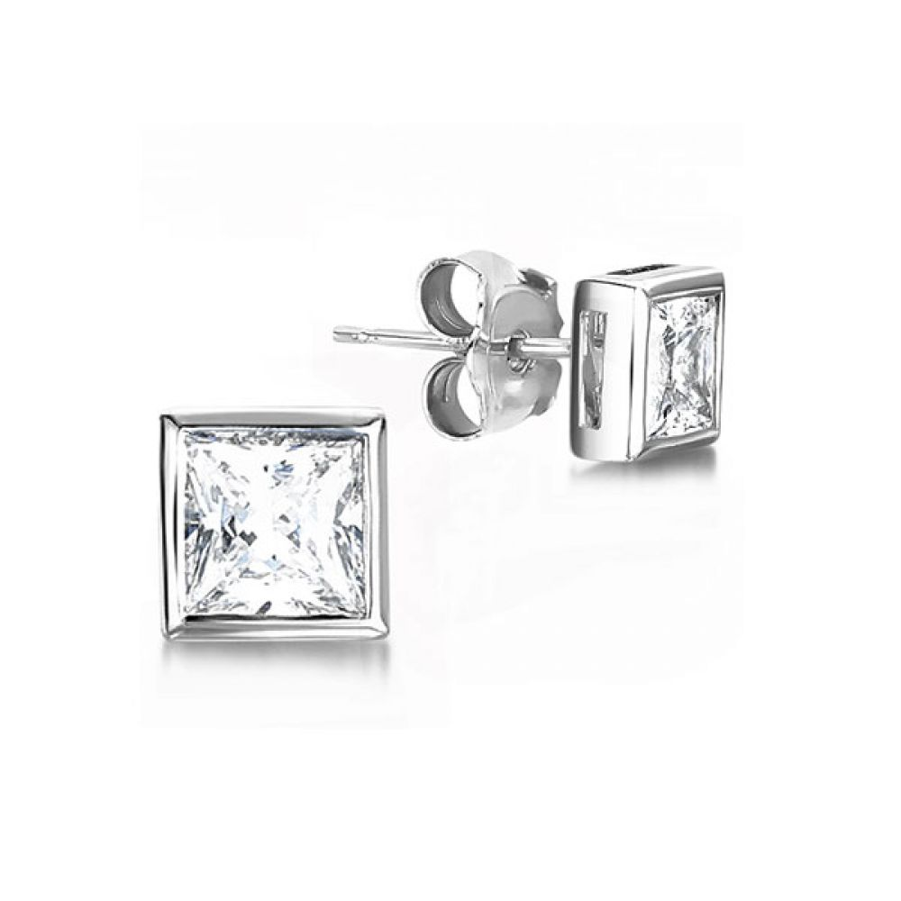 Fully Bezel Set Princess Diamond Stud Earrings