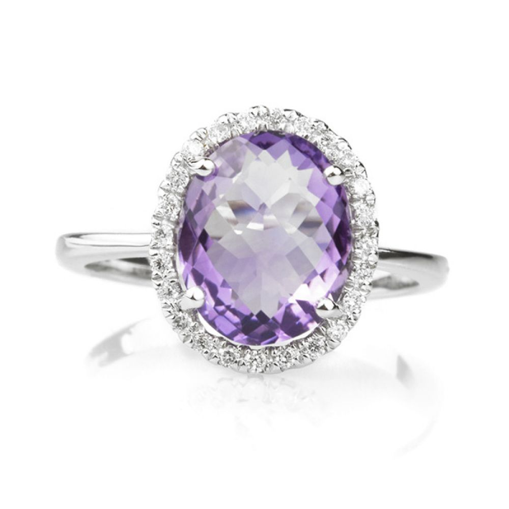 2.80 Carat Amethyst Oval Halo Diamond Ring