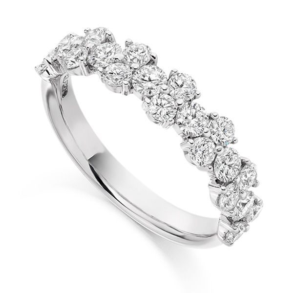 1.20ct Round Diamond Cluster Half Eternity Ring Main Image