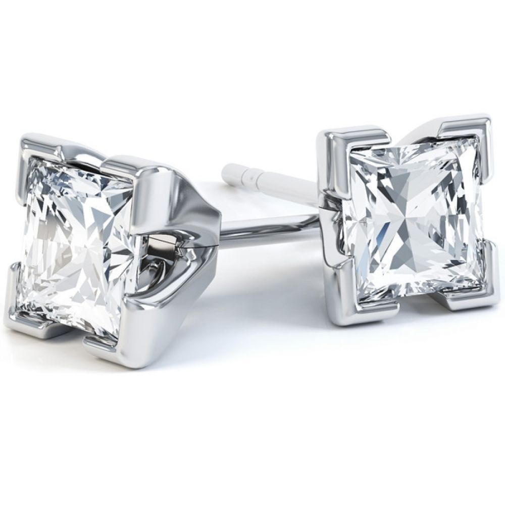 0.20ct 4 Claw Princess Diamond Stud Earrings