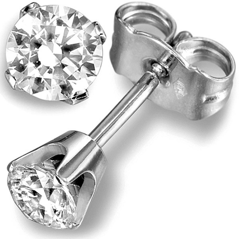 0.20cts 4 Claw Round Diamond Stud Earrings