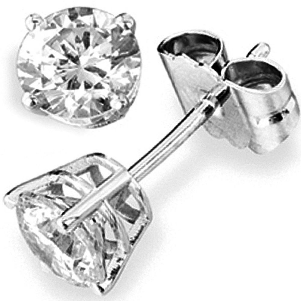 0.30cts 9ct White Gold Round Diamond Stud Earrings