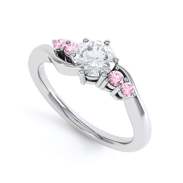 Diamond & Pink Sapphire 5 Stone Engagement Ring Main Image