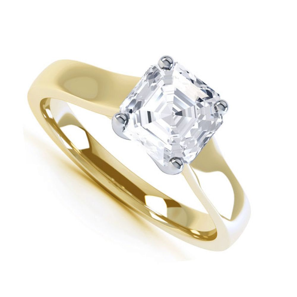 Asscher Cut Diamond Solitaire Engagement Ring In Yellow Gold