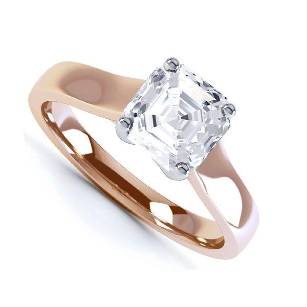 Asscher Cut Diamond Solitaire Engagement Ring Side View