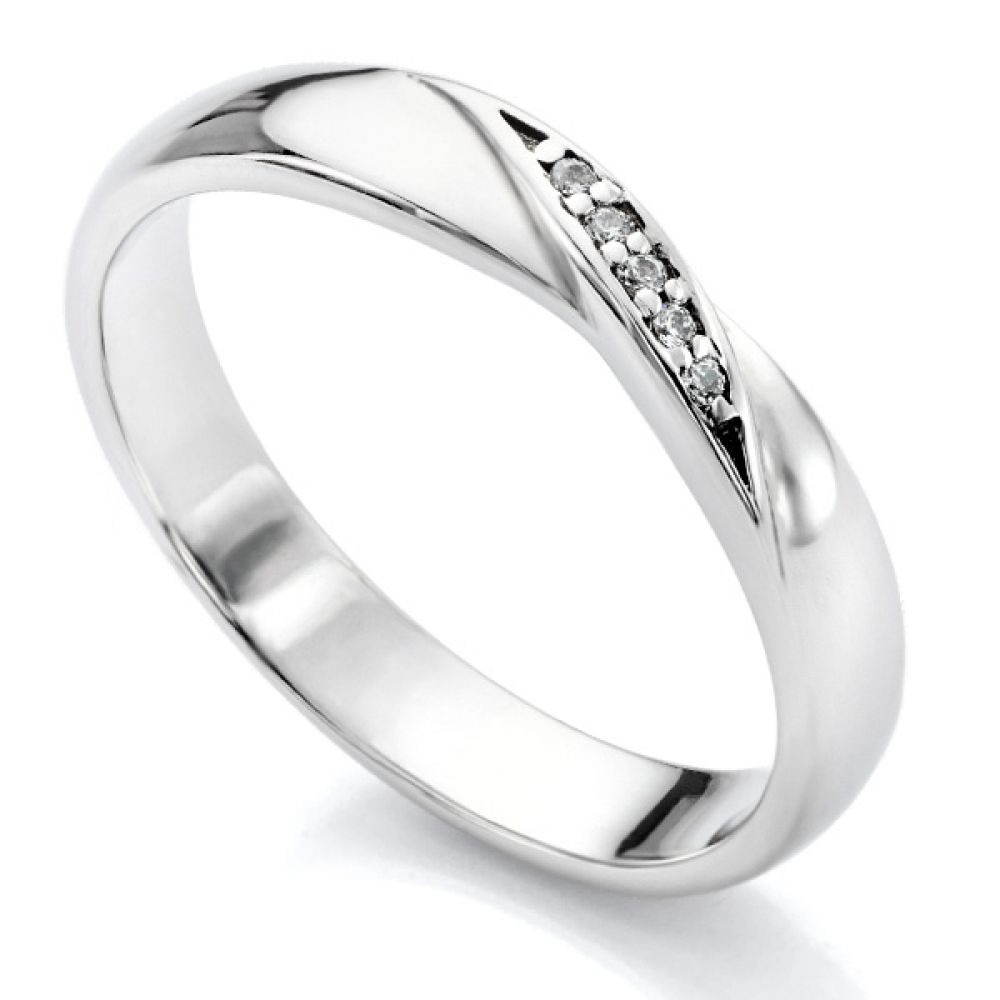 Ribbon Twist Shaped Diamond Wedding Ring