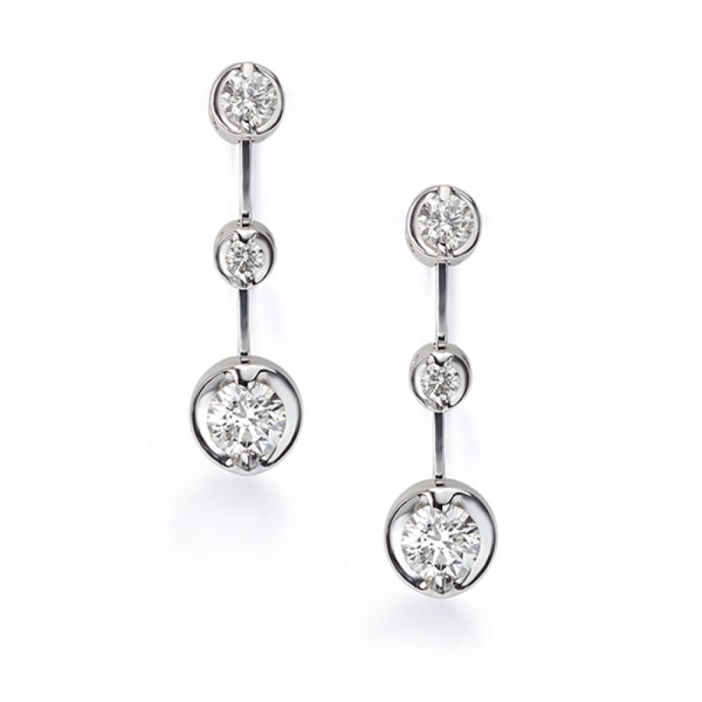 Cascading 3 Stone Diamond Drop Earrings