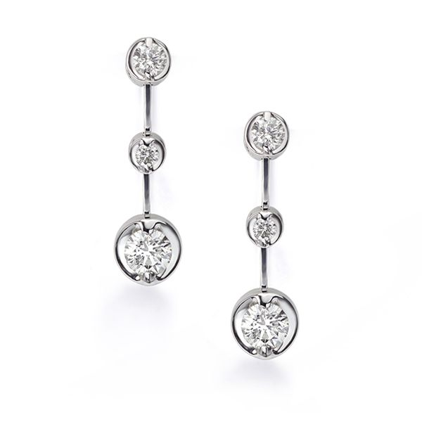 Cascading 3 Stone Diamond Drop Earrings Main Image