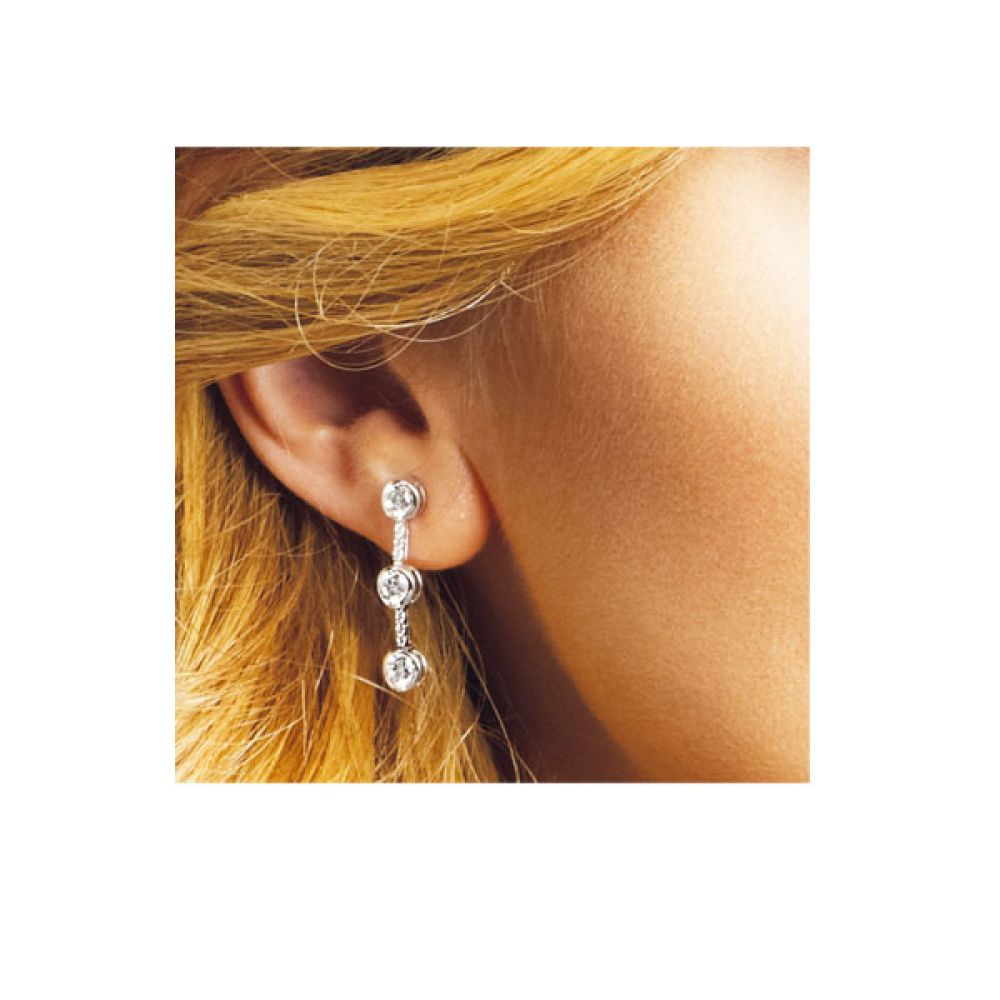 1.60cts Encrusted Diamond Drop Earrings Shown In Ear