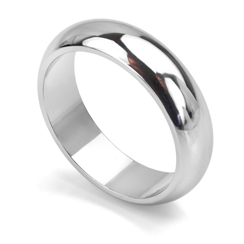 Heavy weight D shaped wedding ring in white gold