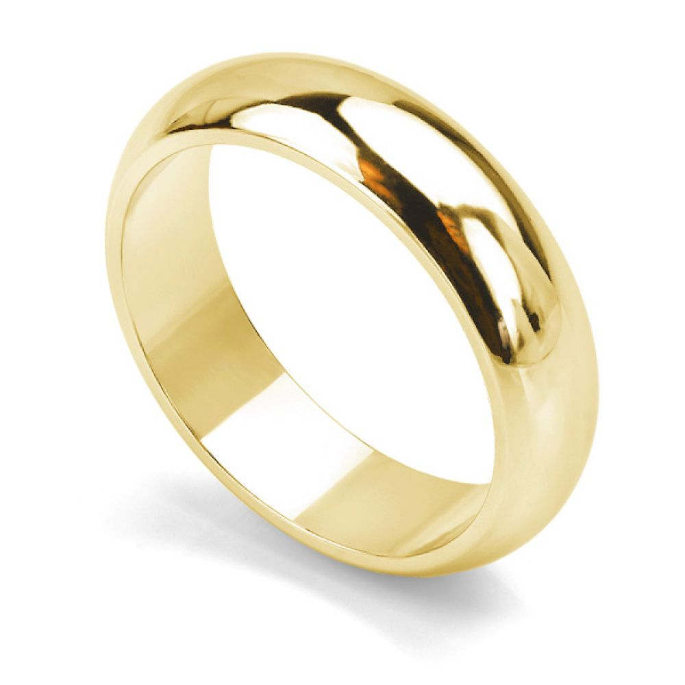 Heavy weight D shaped wedding ring in yellow gold