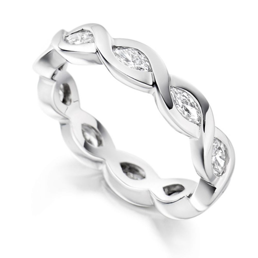 Unusual 1 Carat Marquise Eternity Ring Fully Set with Diamonds