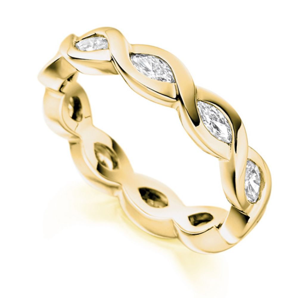 1 Carat Unique Marquise Cut Full Diamond Eternity Ring In Yellow Gold