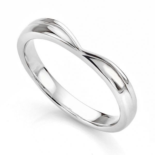 V Shaped Straight Wishbone Shaped Wedding Ring Main Image