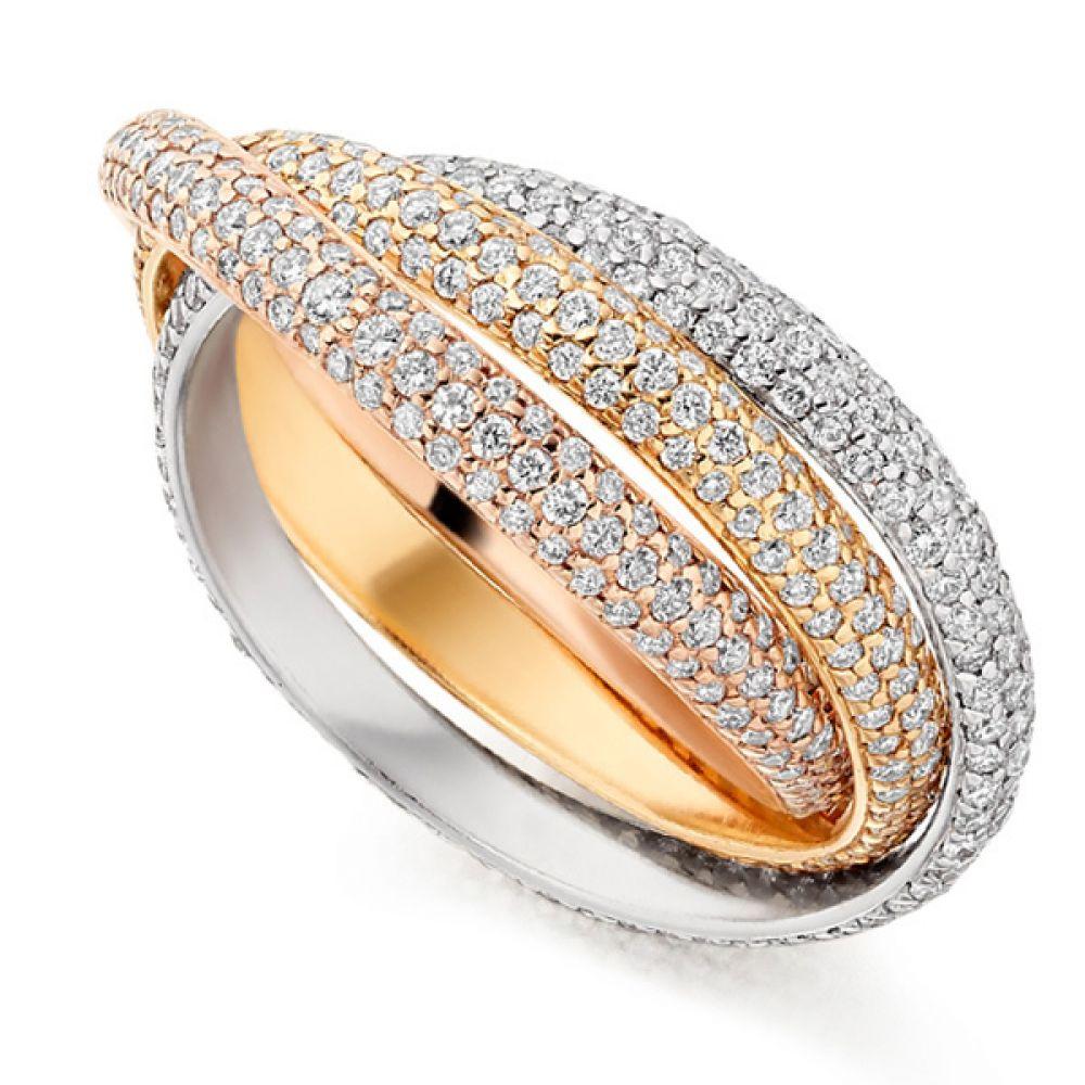 2 Carat Pavé Set Russian Diamond Wedding Rings