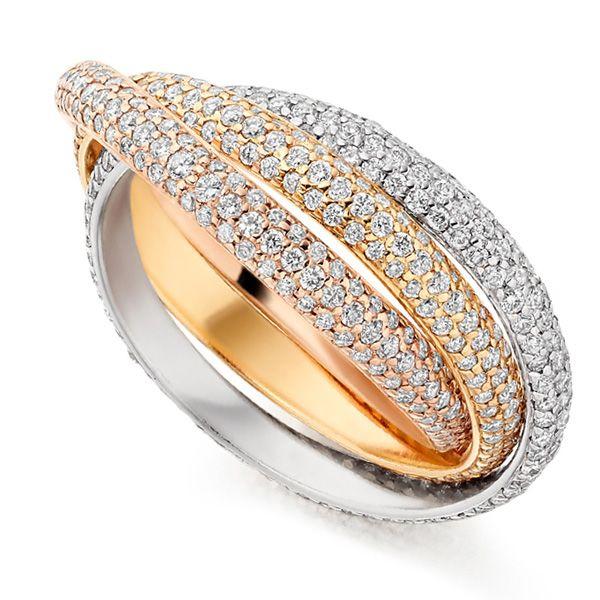 2 Carat Pavé Set Russian Diamond Wedding Rings Main Image