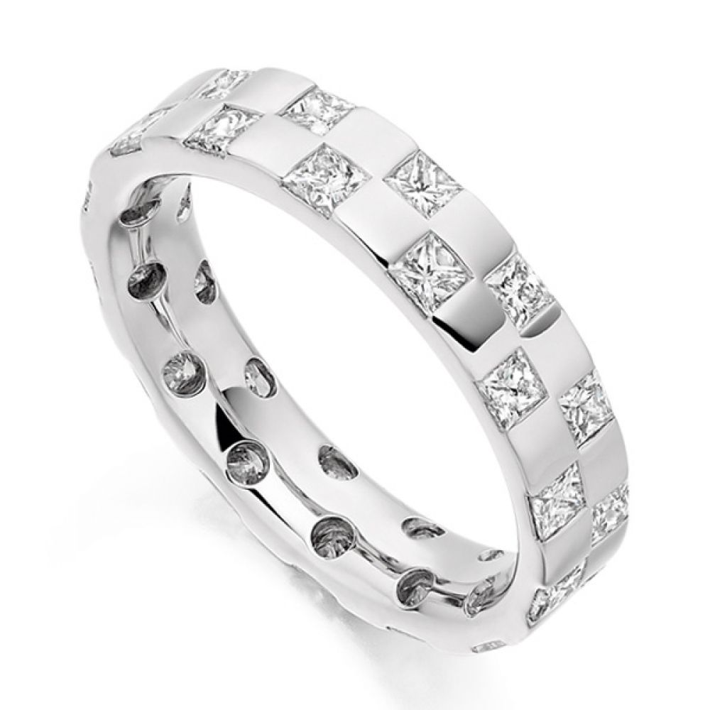 1.65ct Checkerboard Princess Diamond Eternity Ring