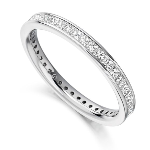 1 Carat Channel Set Princess Diamond Full Eternity Ring Main Image