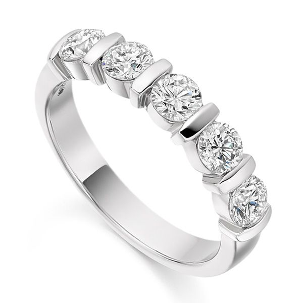 1 Carat Bar Set 5 Stone Diamond Half Eternity Ring Main Image