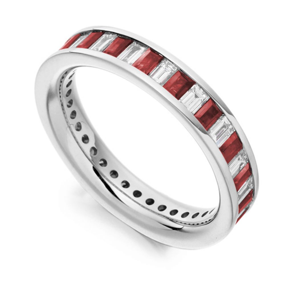 1 Carat Baguette Cut Diamond and Ruby Full Eternity Ring