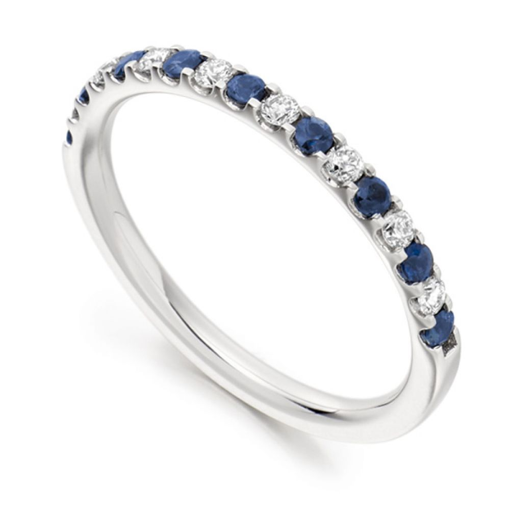 0.14cts Round Blue Sapphire & Diamond Half Eternity Ring