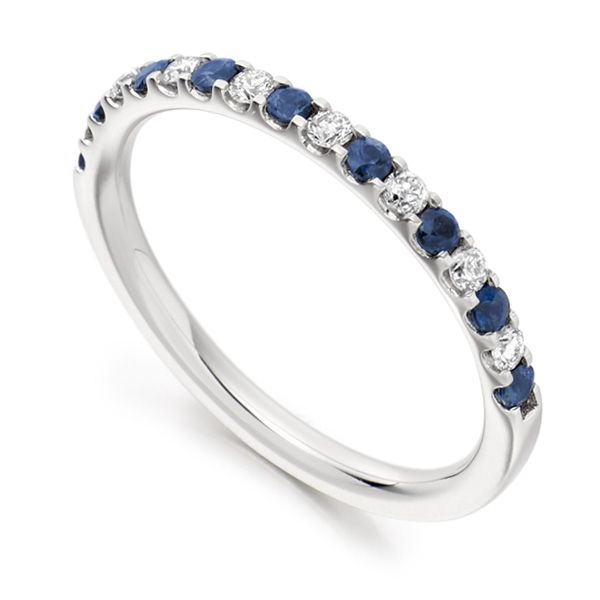 0.14cts Round Blue Sapphire & Diamond Half Eternity Ring Main Image