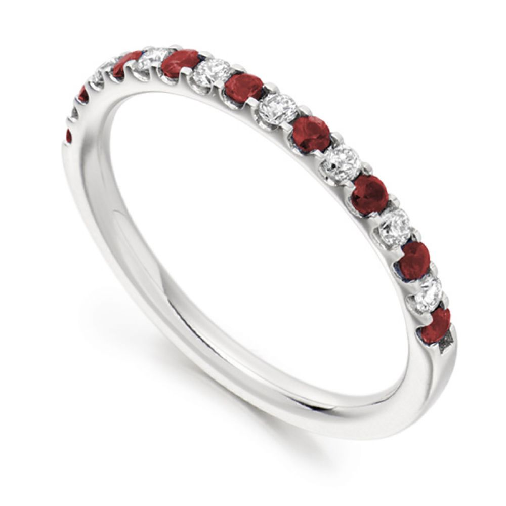 0.16cts Round Diamond & Ruby Half Eternity Ring