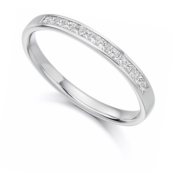 0.20cts Princess Cut Diamond Half Eternity Ring Main Image