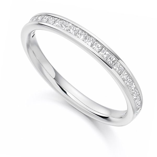 0.33cts Princess Cut Diamond Half Eternity Ring Main Image