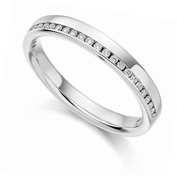 0.12cts Offset Channel Diamond Half Eternity Ring Main Image