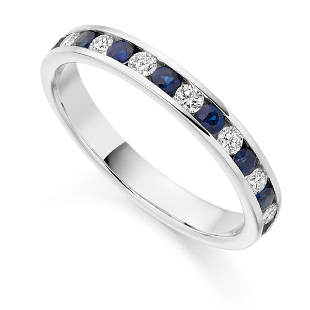 0.27cts Diamond & Blue Sapphire Half Eternity Ring