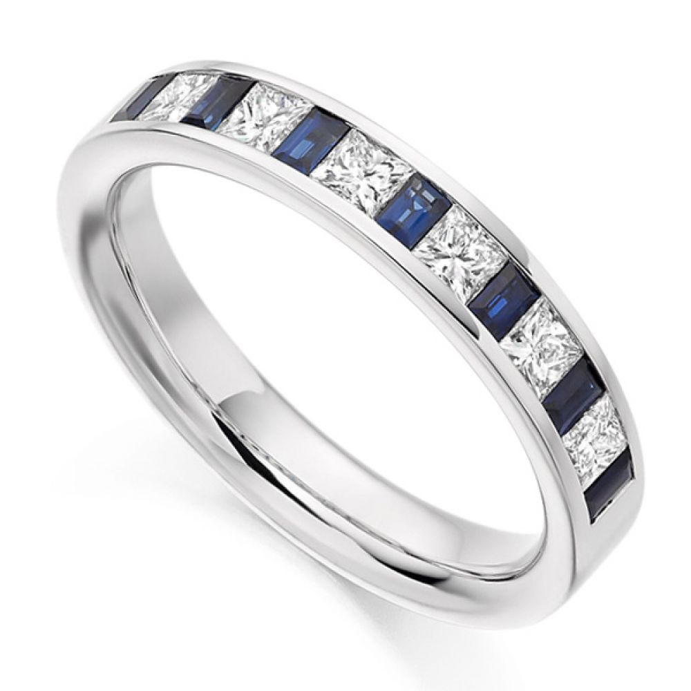 0.56ct Princess Diamond & Blue Sapphire Baguette Half Eternity Ring