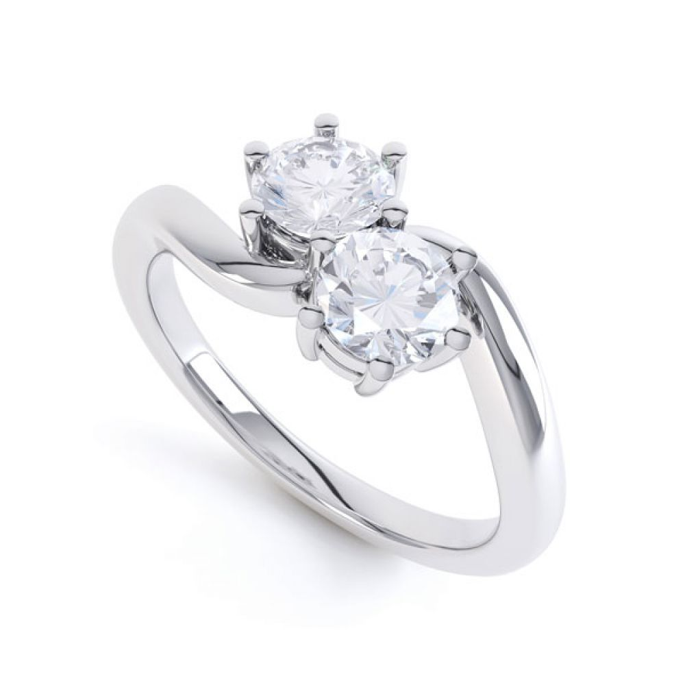 2 Stone Round Diamond Engagement Ring 6 Claw Setting