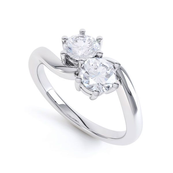2 Stone Round Diamond Engagement Ring 6 Claw Setting Main Image