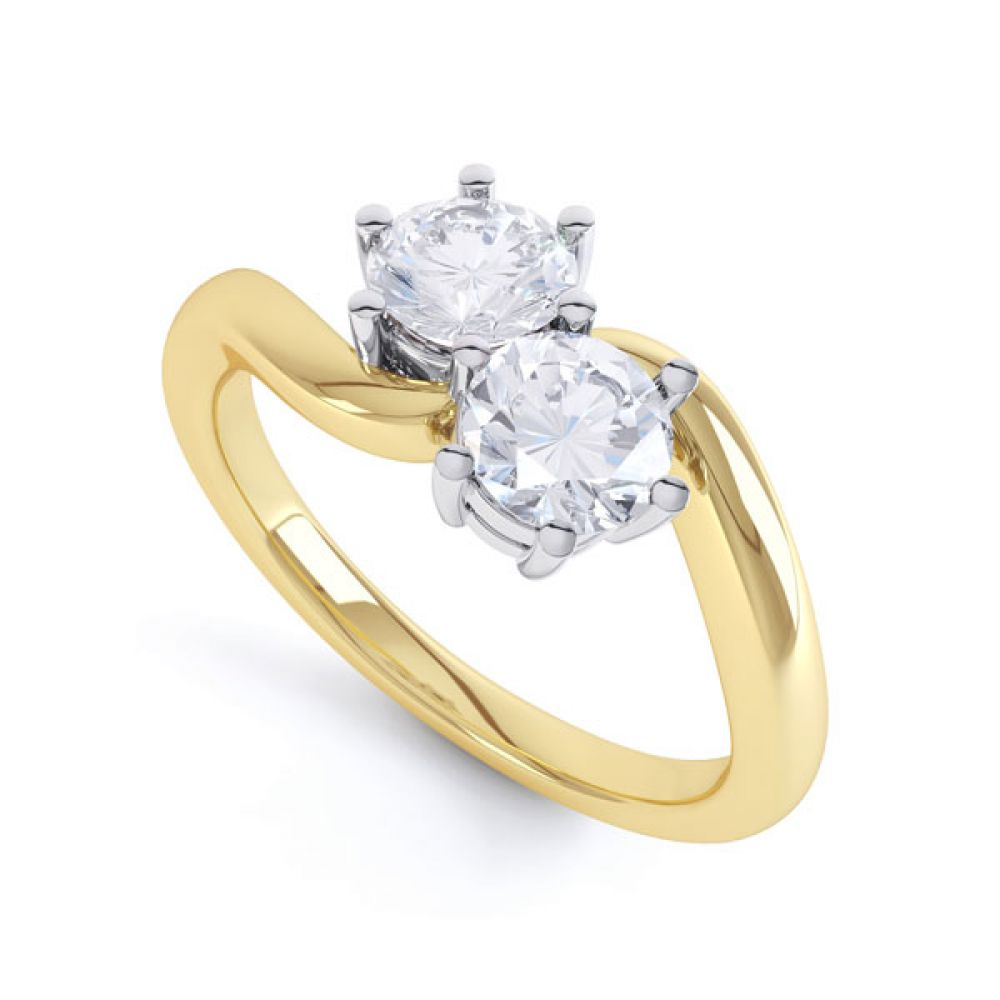 2 Stone Round Diamond Engagement Ring 6 Claw Setting In Yellow Gold