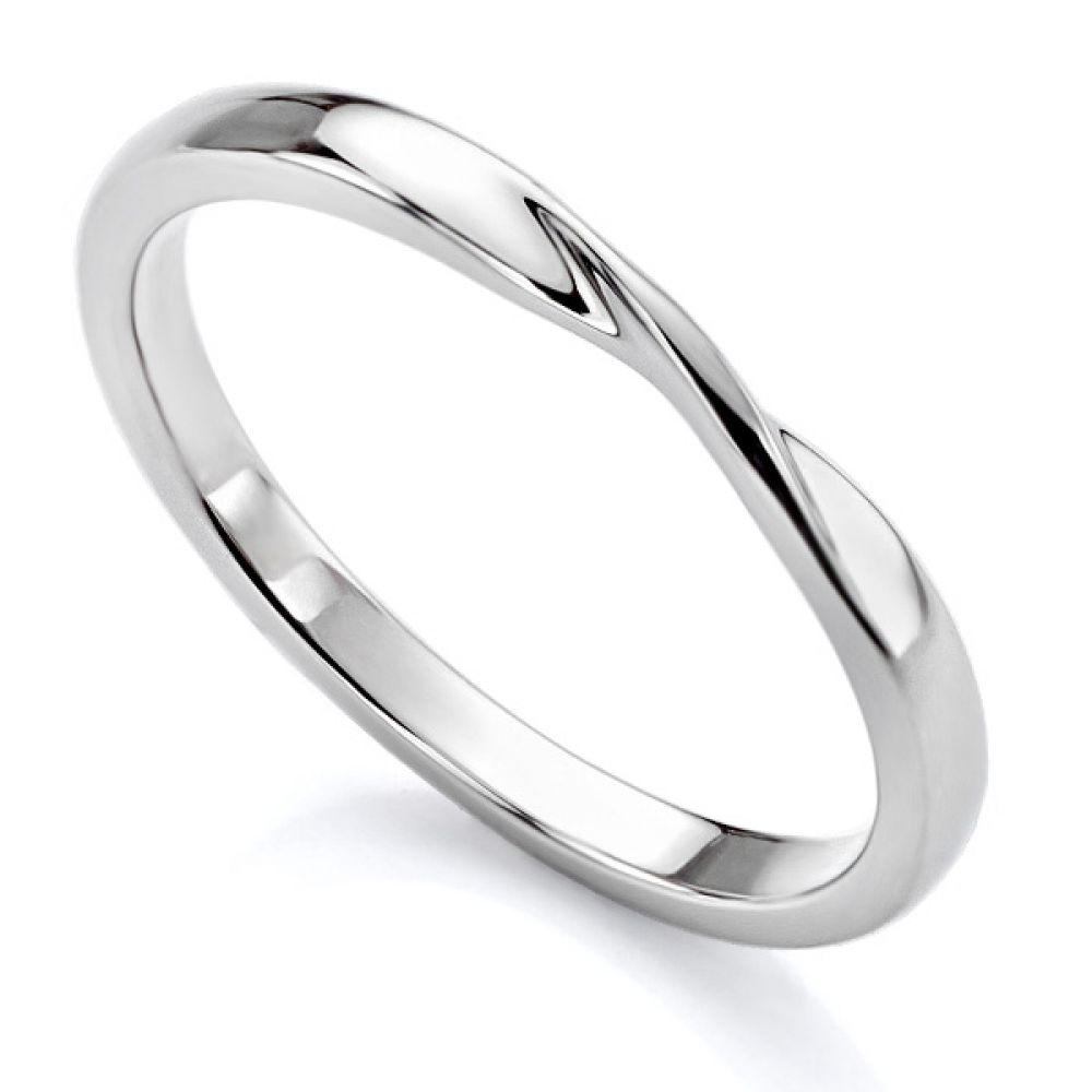 Plain Ribbon Twist Shaped Wedding Ring