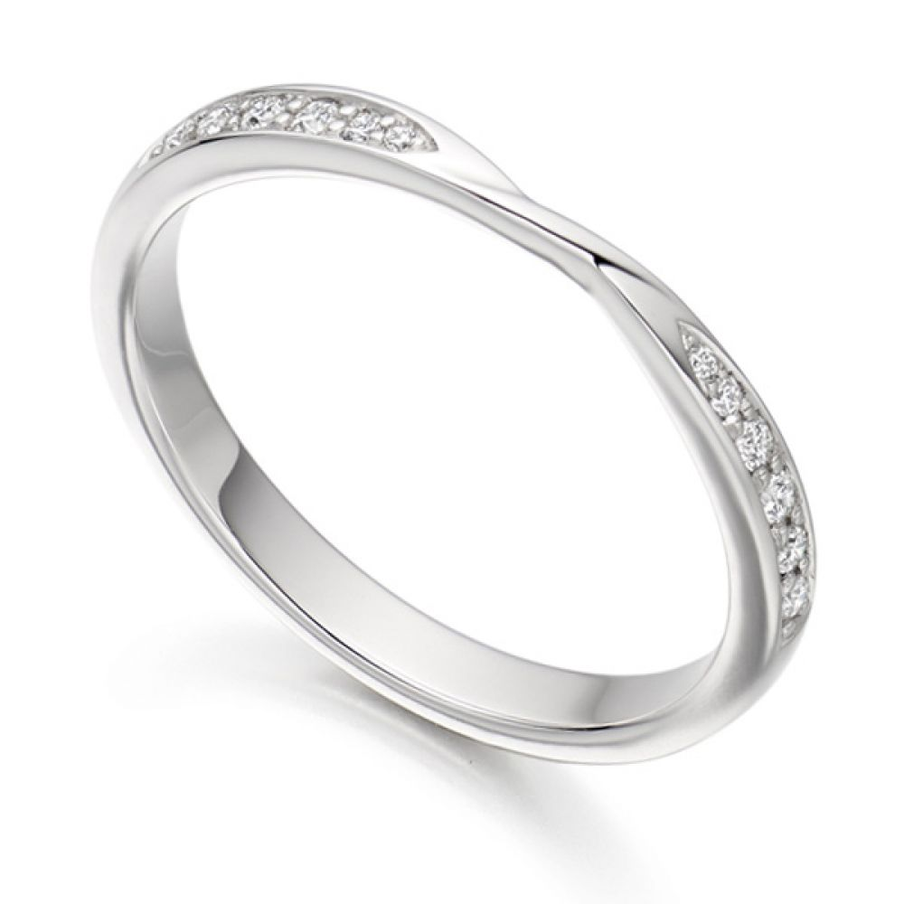 Ribbon Twist Diamond Wedding Ring