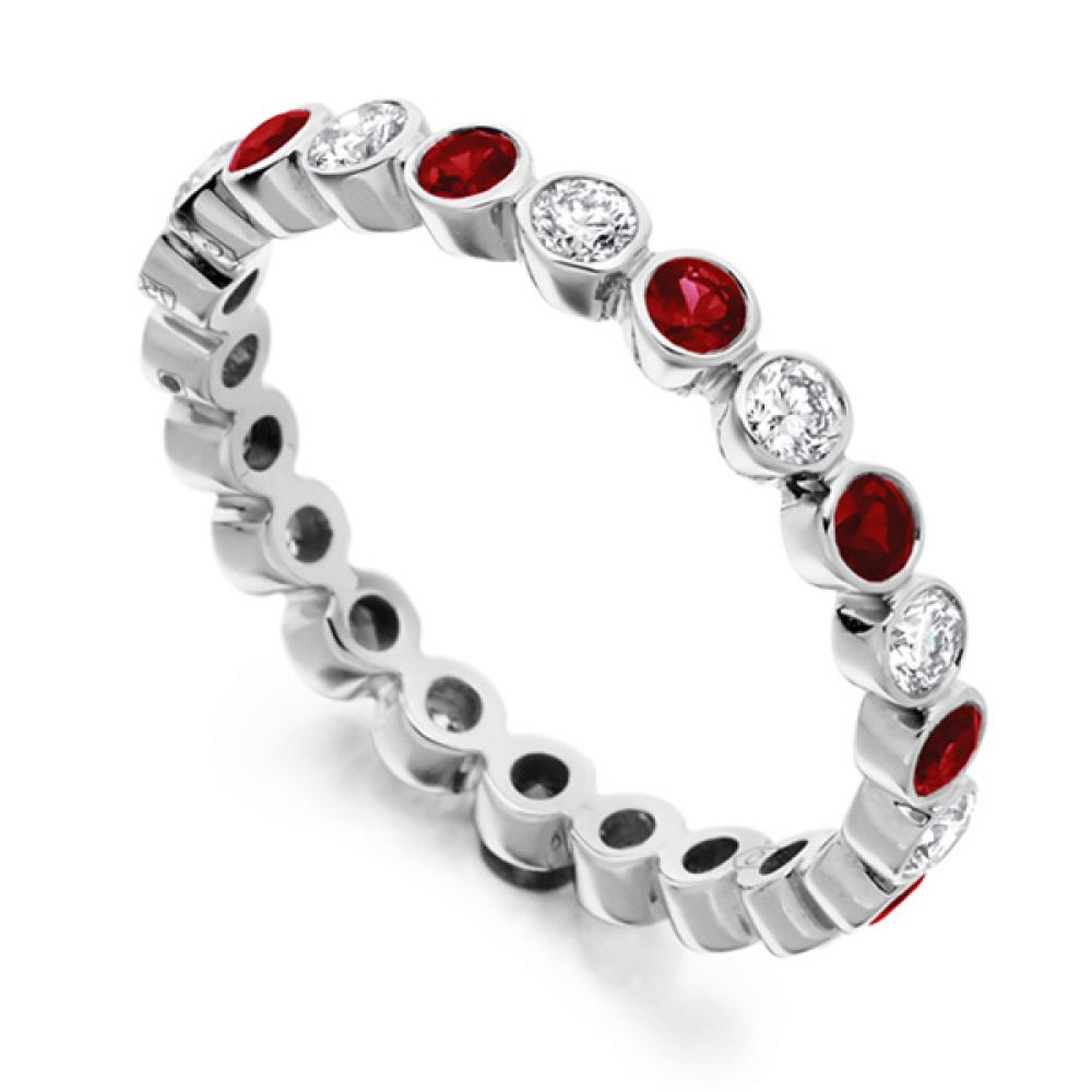 0.51ct Bezel Set Diamond and Ruby Full Eternity Ring