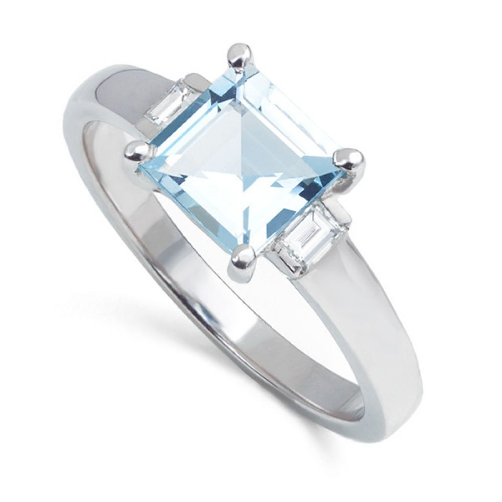 1 Carat Aquamarine Ring with Baguette Diamonds