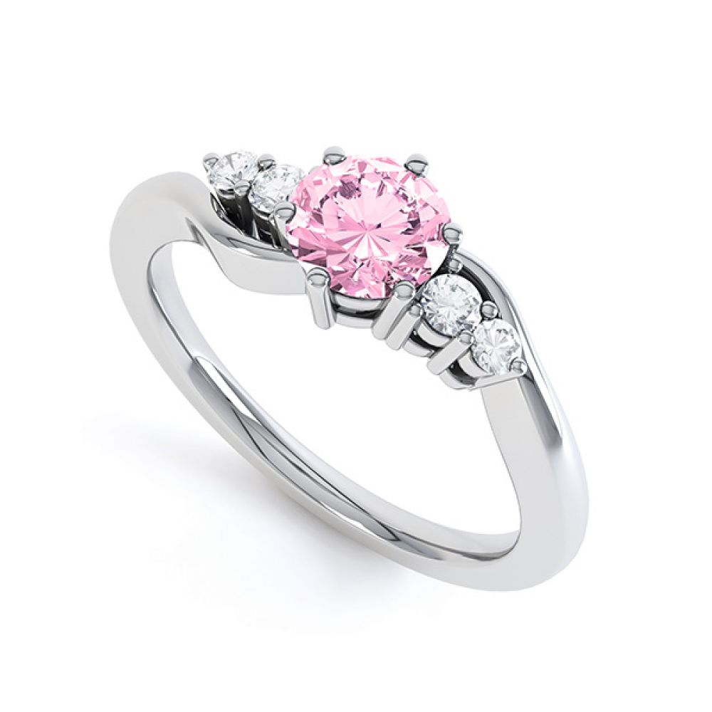 Tickled Pink Sapphire Diamond Engagement Ring White Gold