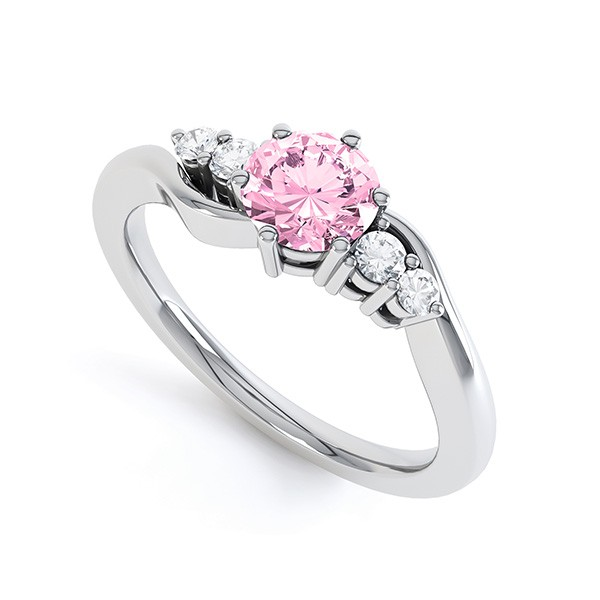 Tickled Pink Sapphire Diamond Engagement Ring