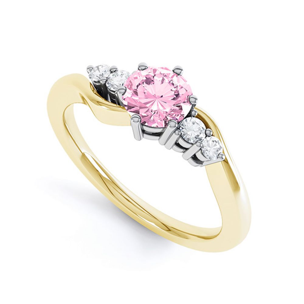 Tickled Pink Sapphire Diamond Engagement Ring White Gold Top View