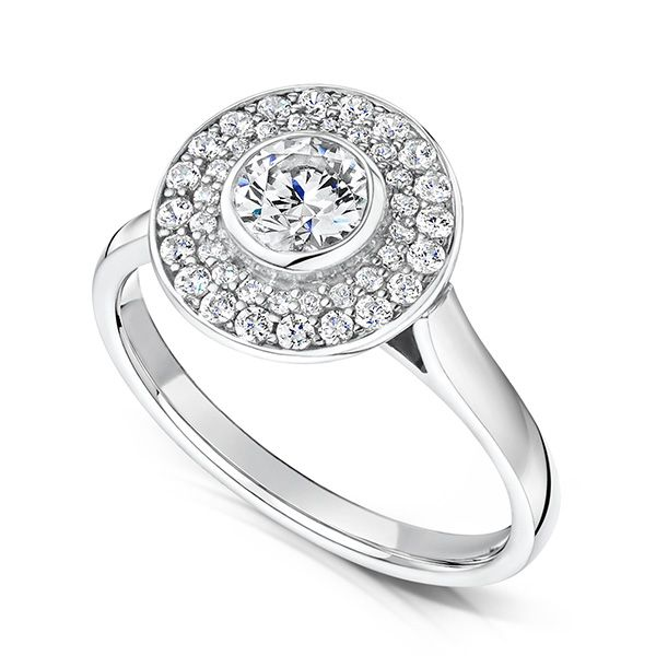Bezel set Double Diamond Halo Ring Main Image