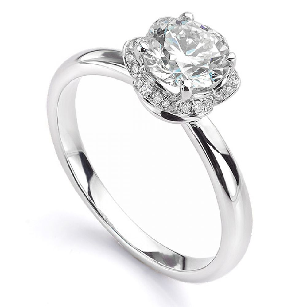 Tulip vintage diamond halo ring in white gold