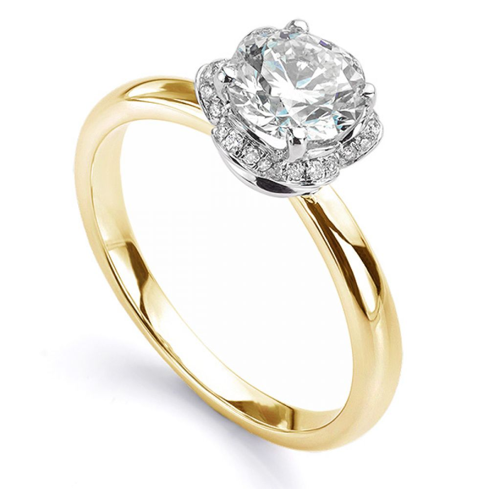 Tulip vintage diamond halo ring in yellow gold