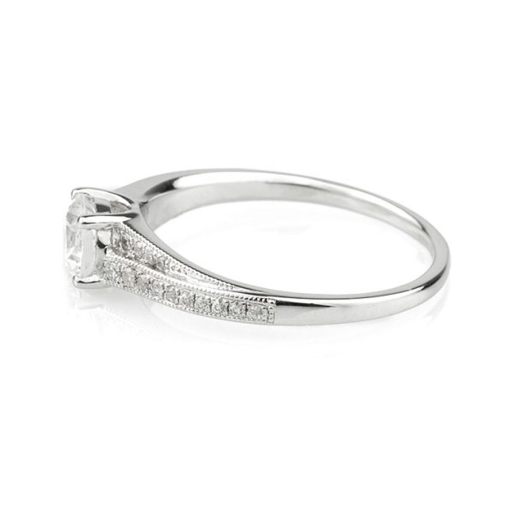 Vintage Diamond Engagement Ring with Stepped Shoulders Side View