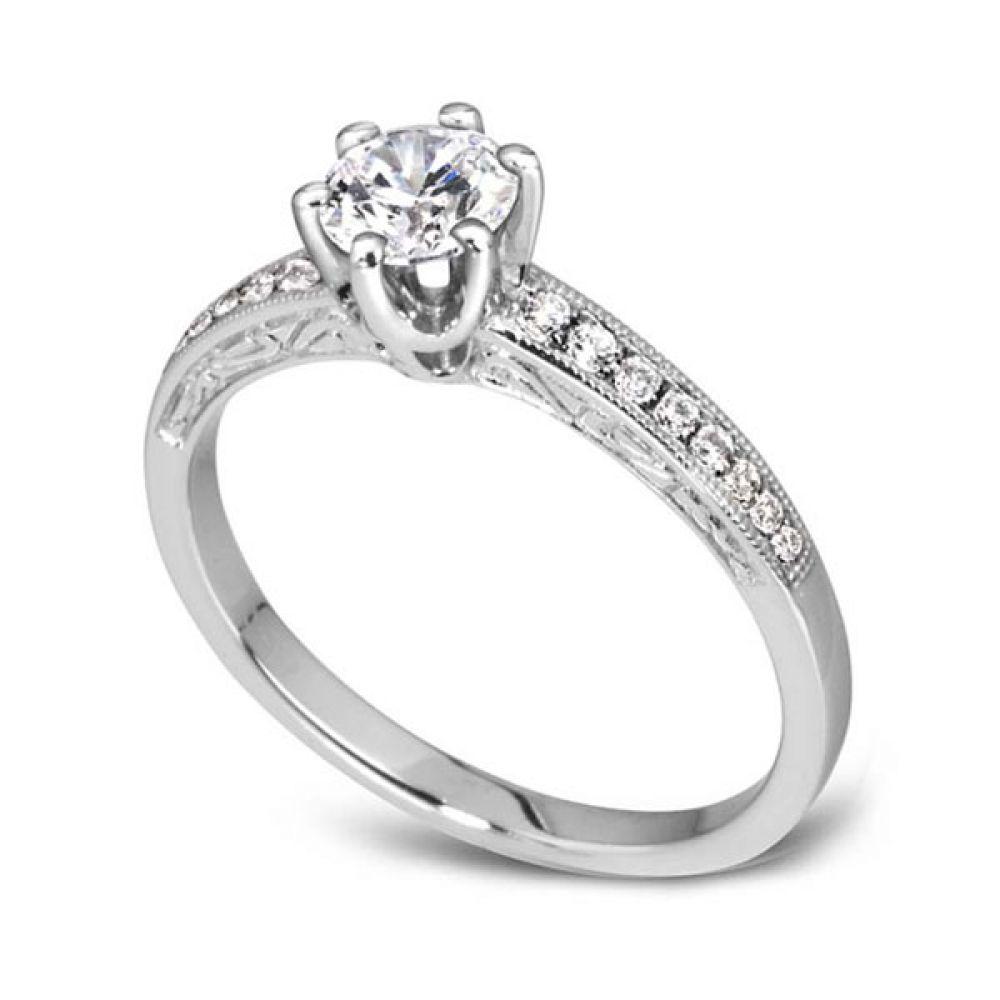 Vintage 6 Claw Diamond Shoulder Engagement Ring