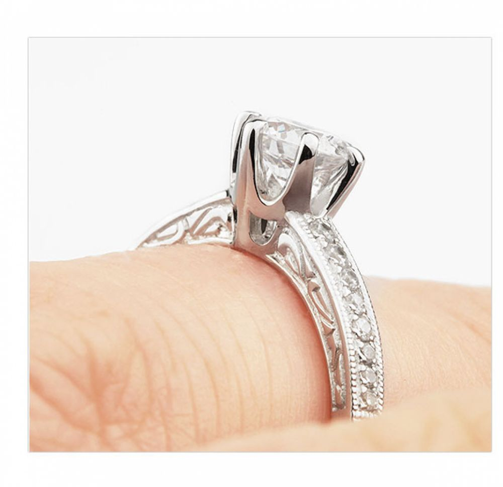 Vintage 6 Claw Diamond Shoulder Engagement Ring Shown On Finger